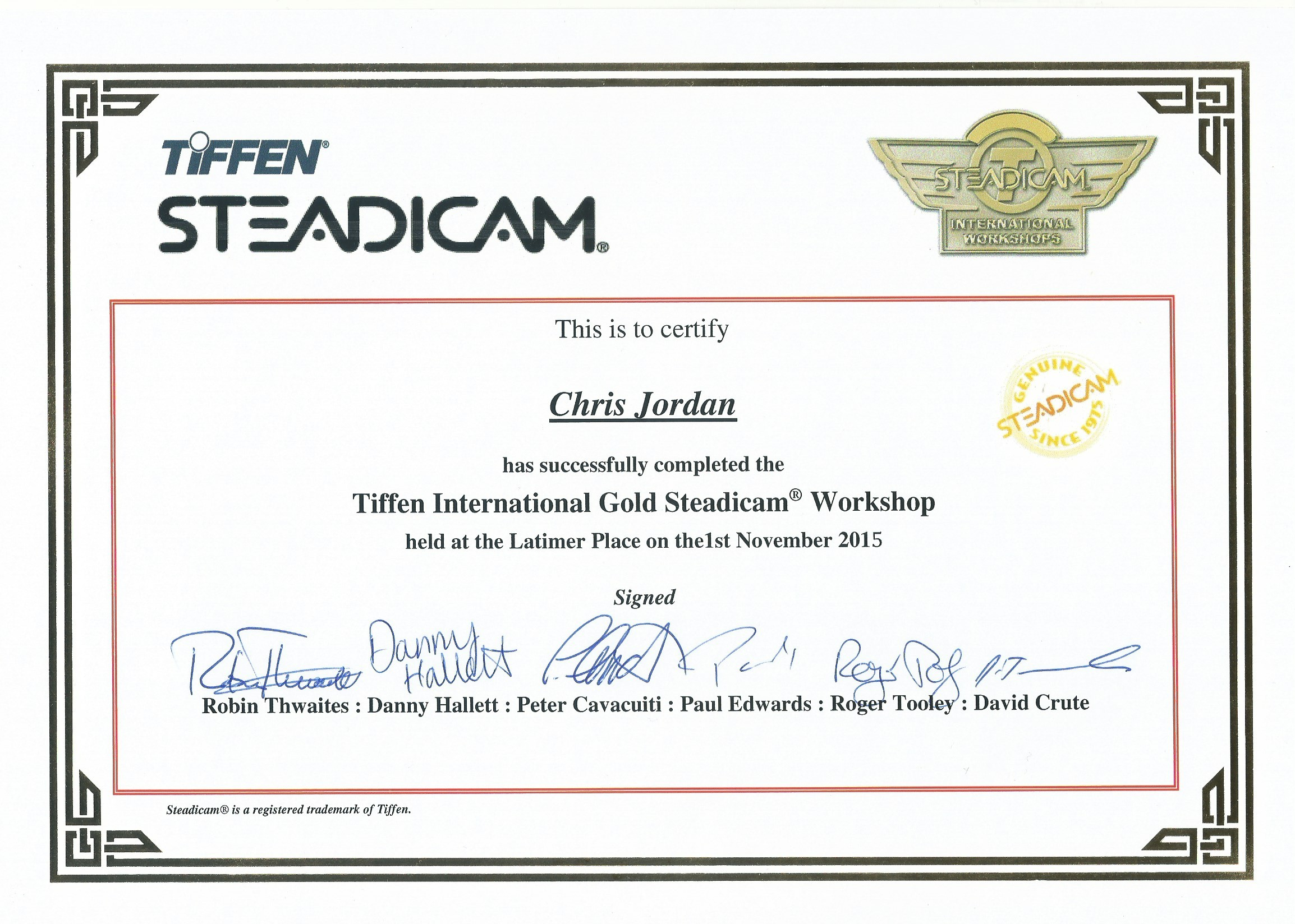 Gold Workshop Certificate